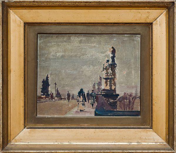 2767 AH autor Ignacy Pinkas, Szkic do obrazu Mosta Karola w Pradze, 1925, olej tektura, 22x27, fot. MSz