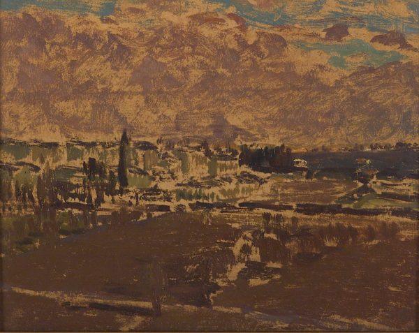 2768 AH autor Ignacy Pinkas, Panorama Wilna, 1928, olej tektura, 22x27, fot