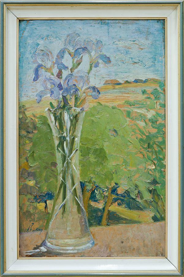 3178 AH autor Ignacy Pinkas, Irysy na tle pejzażu, olej dykta, 68x42, fot. MSz