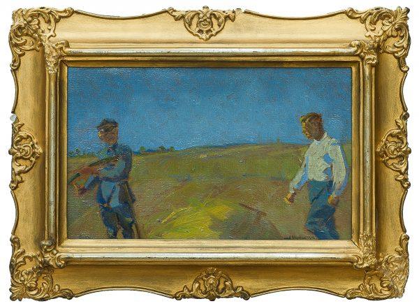 3220 AH autor Ignacy Pinkas, Legioniści Nad Styrem, 1916, olej tektura, 20x32, fot. MSz