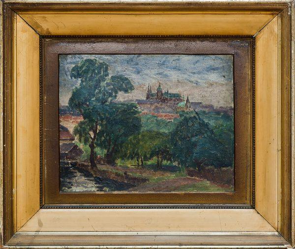 3505 AH autor Ignacy Pinkas, Widok na Hradczany, 1925, olej tektura, 22x27, fot. MSz
