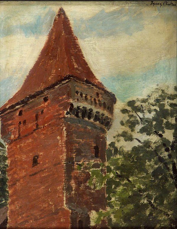 3648 AH autor Ignacy Pinkas, Szczyt wieży, olej dykta, 27x22, fot