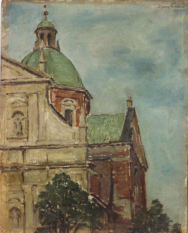 3649 AH autor Ignacy Pinkas, Kościół św. Piotra i Pawła, olej dykta, 27x22, fot