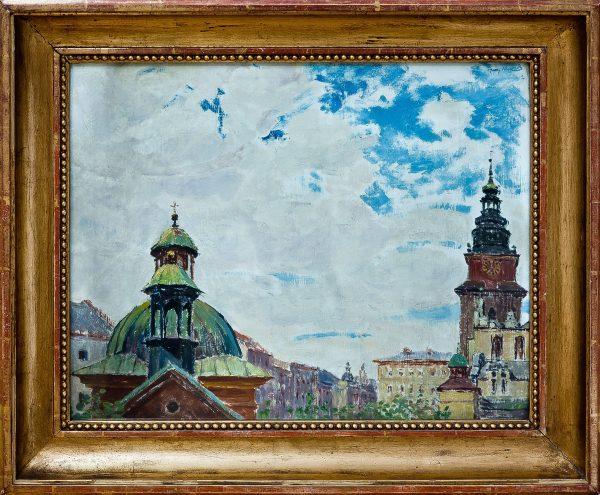 3702 AH autor Ignacy Pinkas, Ratusz w Krakowie Motyw z Krakowa, lata 20-te, olej dykta, 40x50, fot. MSz