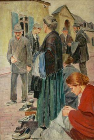 4884 AH autor Ignacy Pinkas, Targ, olej na sklejce, 134,5 x 92, fot. Desa