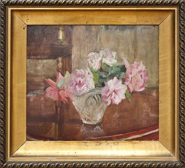 4885 AH autor Ignacy Pinkas, Róże, ole tektura, 40x46, fot. MSz