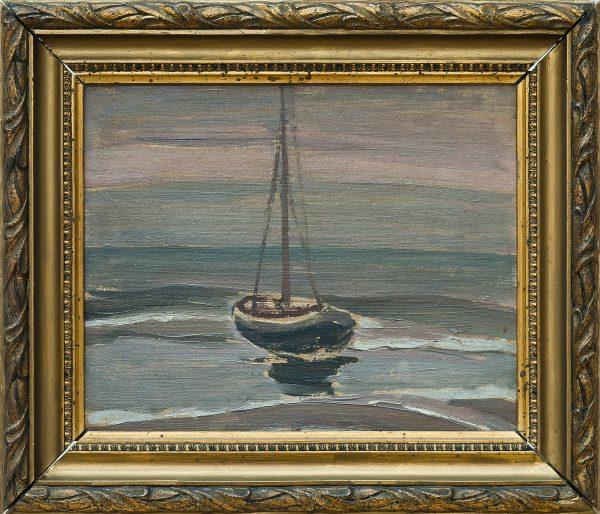 4886 AH autor Ignacy Pinkas, Na morzu, 1923, olej tektura, 22x27, fot. MSz