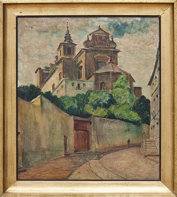 5171 AH autor Ignacy Pinkas, Kościół św. Anny na Mariensztacie, 1927-28, olej tektura, 69,5x59, fot. MSz