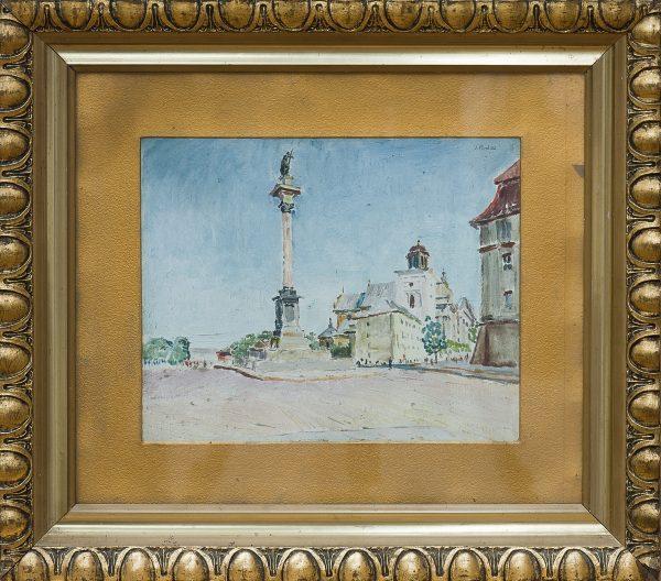 5172 AH autor Ignacy Pinkas, Widok na Kolumnę Zygmunta w Warszawie, 1928, olej tektura, 21,5x26,5, fot. MSz