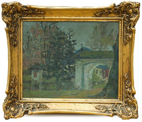 5173 AH autor Ignacy Pinkas, Wyjście z dziedzińca kościelnego, 1918, olej tektura, 21,5x27, fot. MSz