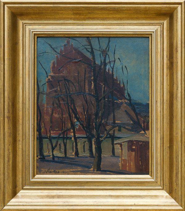 5396 AH autor Ignacy Pinkas, Kościół św. Trójcy w Krakowie, 1920, olej tektura, 20,5x26, fot. MSz