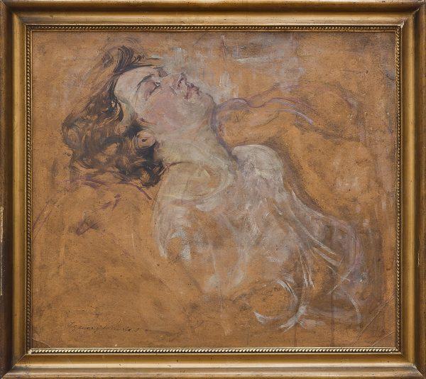 5402 AH autor Ignacy Pinkas, Śpiąca kobieta, olej tektura, 55x63, fot. MSz