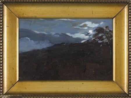 5657 AH autor Ignacy Pinkas, Zima, olej na tekturze, 16,5x25,5 cm, fot. Desa