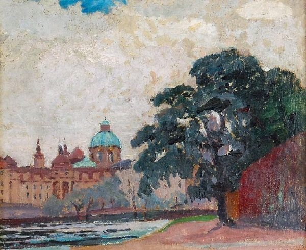 5934 AH autor Ignacy Pinkas, Widok na Pragę i Wełtawę, 1925, olej tektura, 21,5x26, fot. Rempex